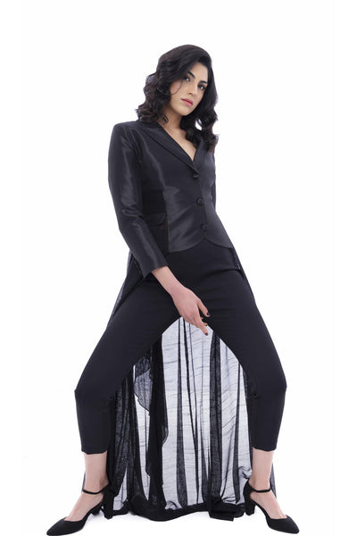 Long Mesh Train Taffeta Jacket - John Paul Ataker