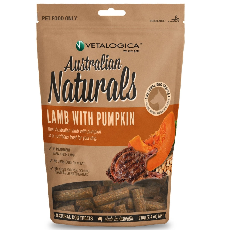 Australian Naturals Lamb with Pumpkin Treats for Dogs 210g