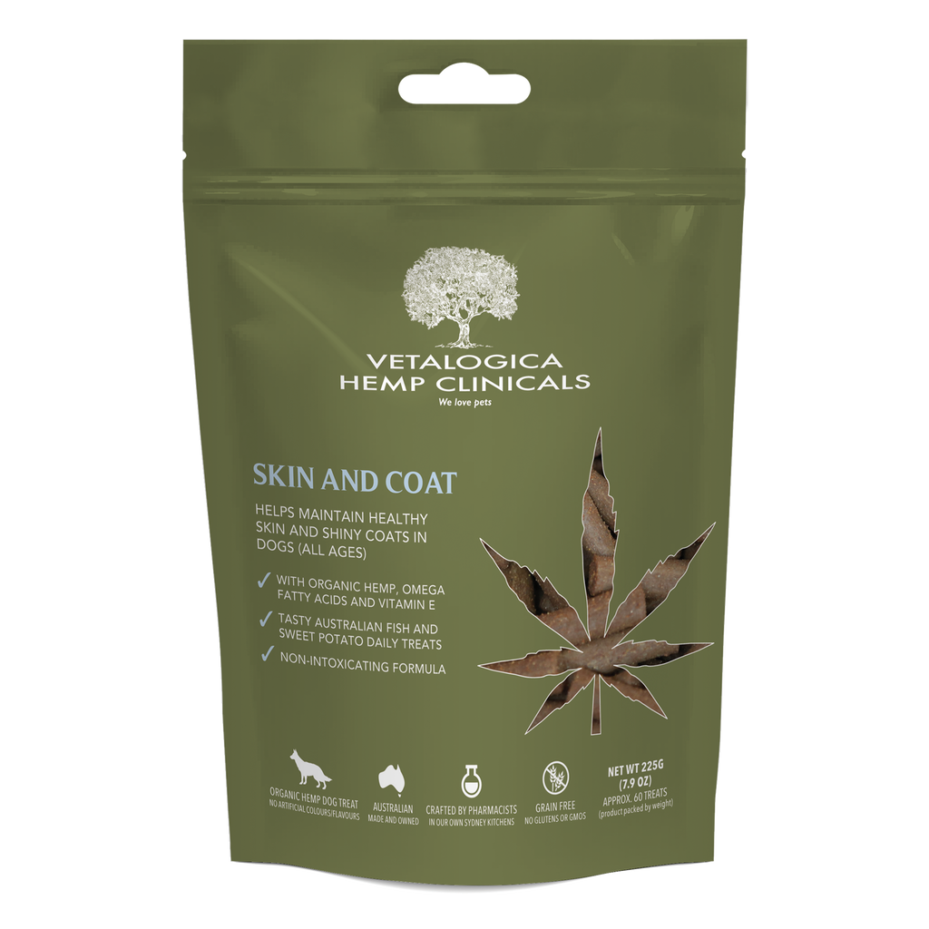 Vetalogica Hemp Clinicals Skin and Coat Treats for Dogs 225g