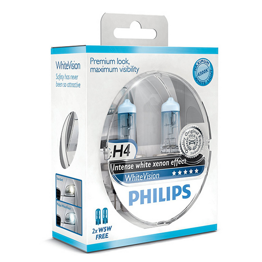 Philips White Vision H4 (Pair) - 4x4 And More