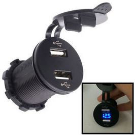 Dual USB power socket with Voltmeter - Round - 4x4 And More