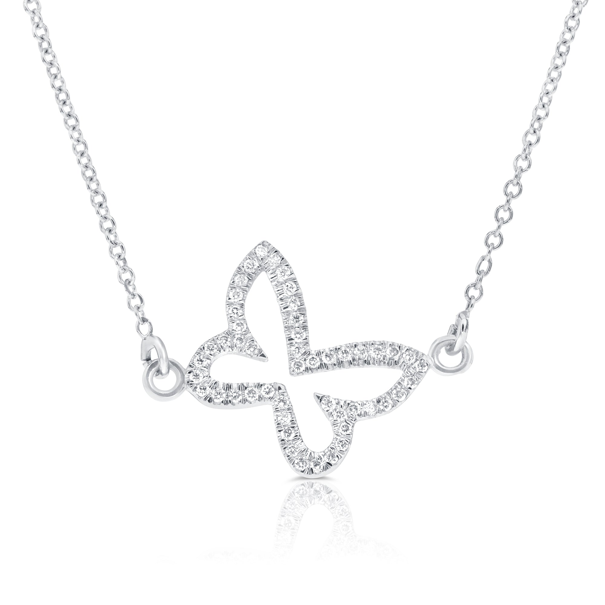 Butterfly Diamond necklace, 0.21ct diamond, 14K white gold-Diamond necklace-Diamond butterfly pendant-Gift for her - SevenCarat