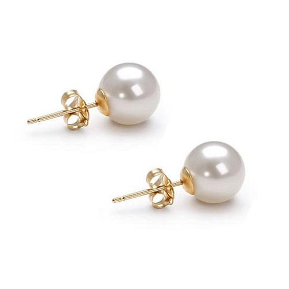 Minimalist pearl earrings-Freshwater Pearl Earrings 10 mm-Bridal Earrings-Wedding Jewelry-Pearl studs