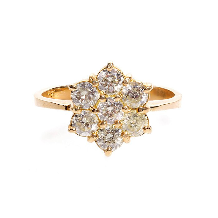 Flower Diamond Ring - Diamond Engagement Ring - Yellow Gold Ring - Present for here - Anniversary Gift
