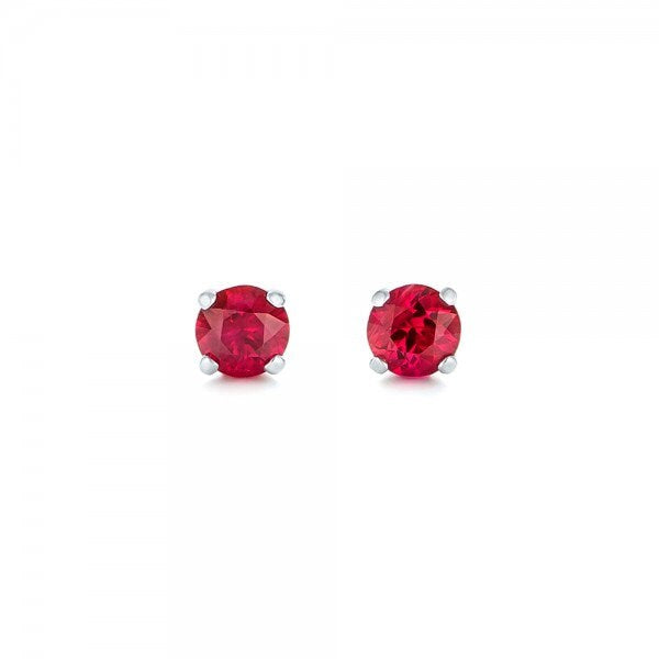 Ruby stud earrings 1 carat -Red ruby-Handmade Ruby stud earrings-14 k white gold earnings-Natural  Ruby