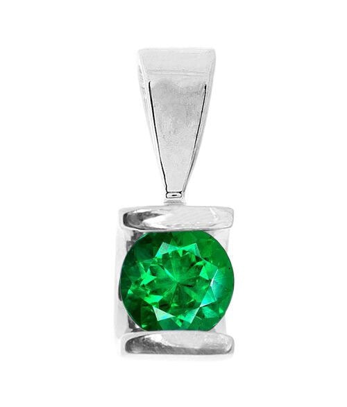 0.60 ct Emerald Pendant-Emerald necklace-White Gold Pendant 14K-genuine emerald necklace-Women Jewelry - SevenCarat