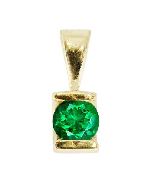0.50 ct Emerald Pendant-Emerald necklace-Yellow Gold Pendant 14K-genuine emerald necklace-Women Jewelry - SevenCarat