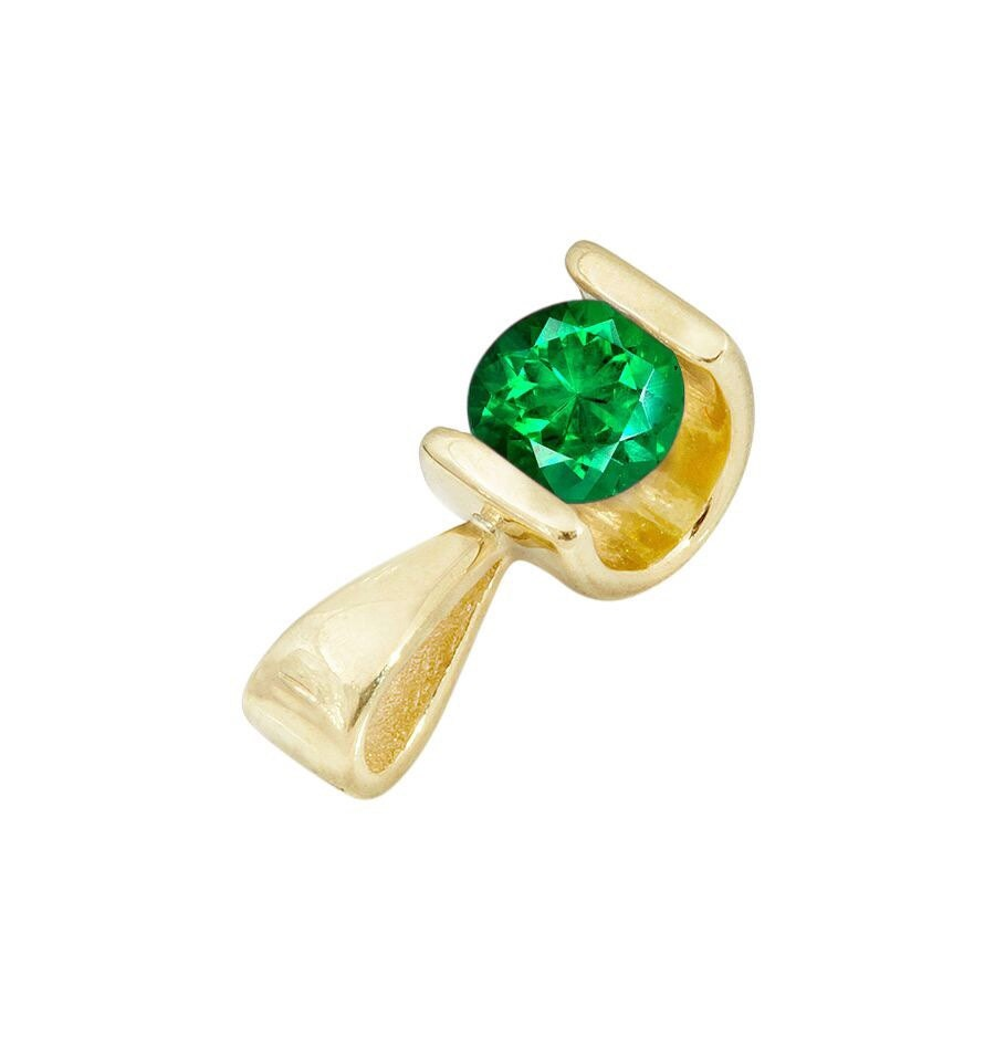 0.50 ct Emerald Pendant-Emerald necklace-Yellow Gold Pendant 14K-genuine emerald necklace-Women Jewelry