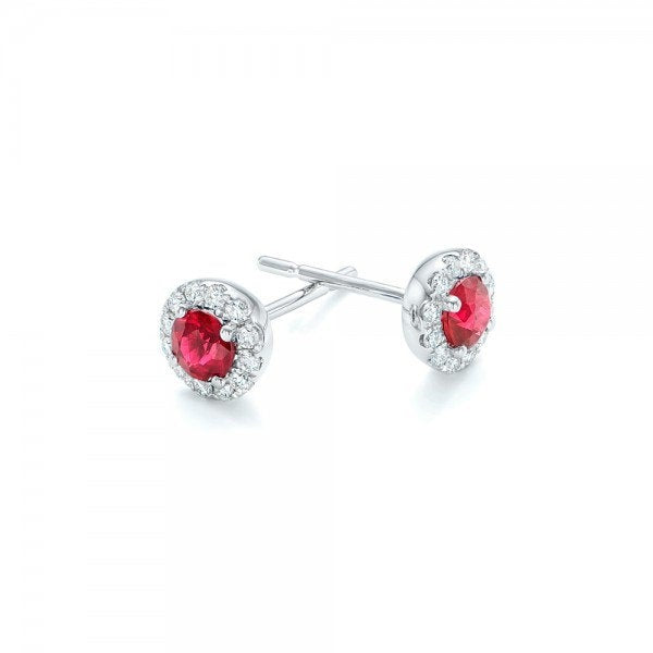 Ruby diamond earring-Halo Ruby earrings-White Gold Earring-Stud Earrings-Gift for her - SevenCarat