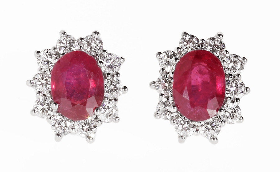 Ruby Earrings-Diana Style Earrings-Diamond Earrings with red ruby-Ruby stud-Natural ruby earrings