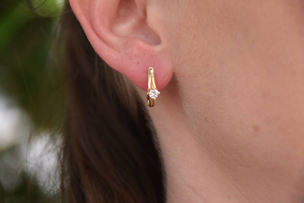 1/2 carat Gold Diamond Earrings-14K Yellow Gold Earrings-Omega Back Earrings-Women Jewelry-Women Earrings - SevenCarat