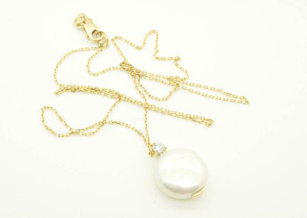 Art deco pearl pendant-Freshwater pearl pendant-Bridal necklace pearls-Pearl necklace-Diamond & Pearl - SevenCarat