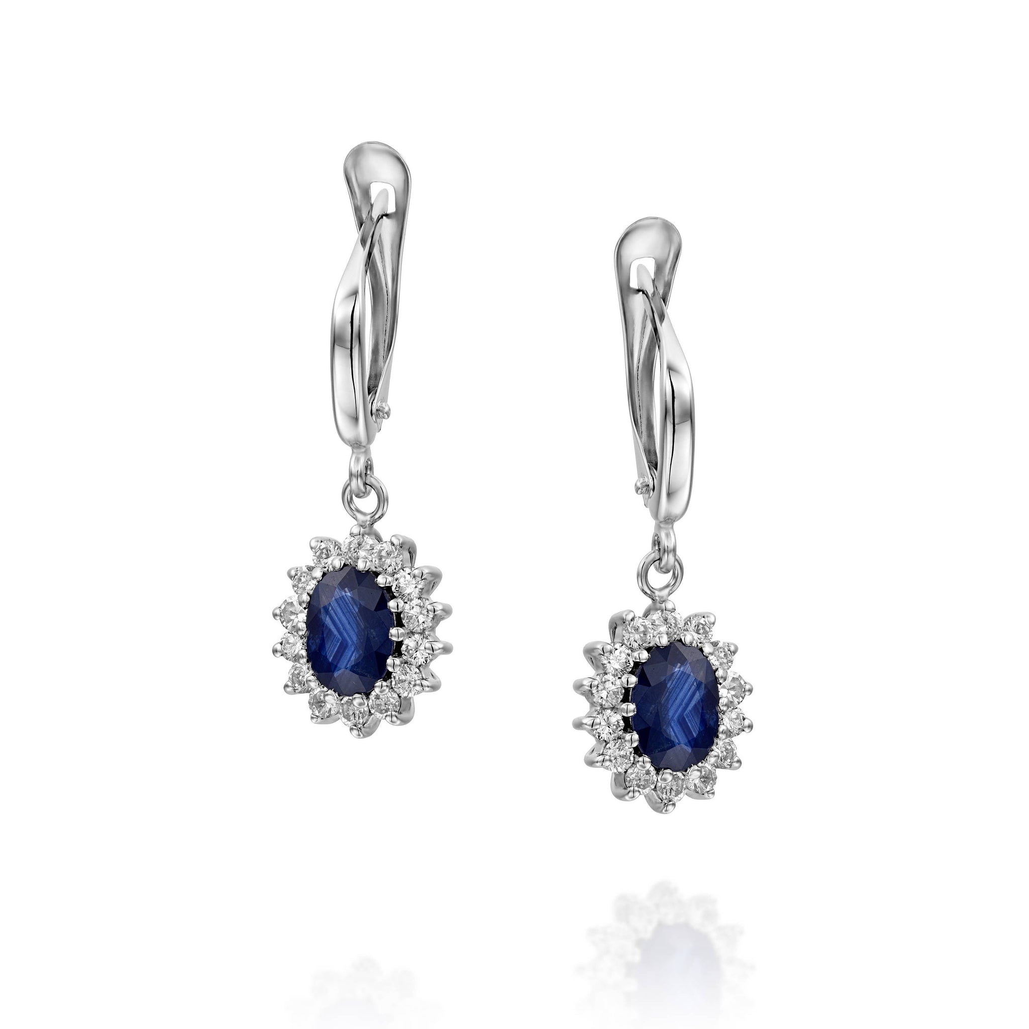 Cluster earrings-Blue Sapphire Earrings-Diamond Earrings with Sapphire-Sapphire Drop Earrings-Women's Jewelry - SevenCarat