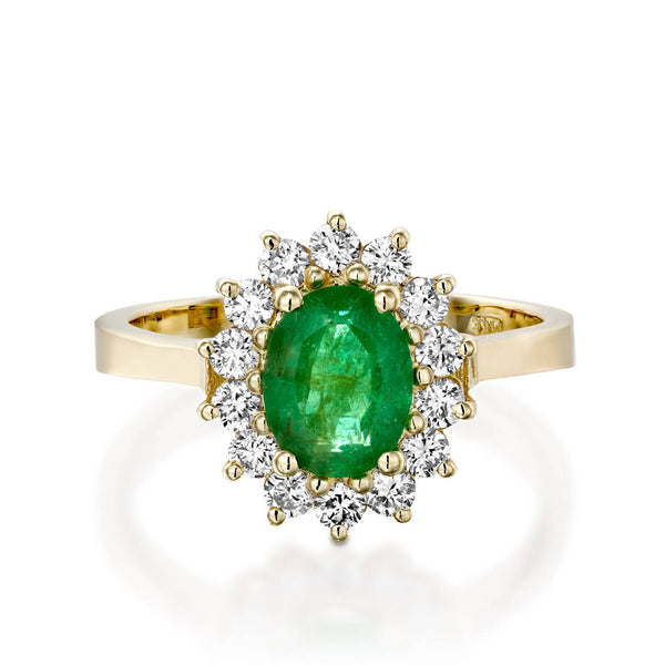 Oval engagement ring-1 carat Green Emerald Engagement Ring-Diamond ring with Emerald-Green Emerald-Yellow Gold Ring