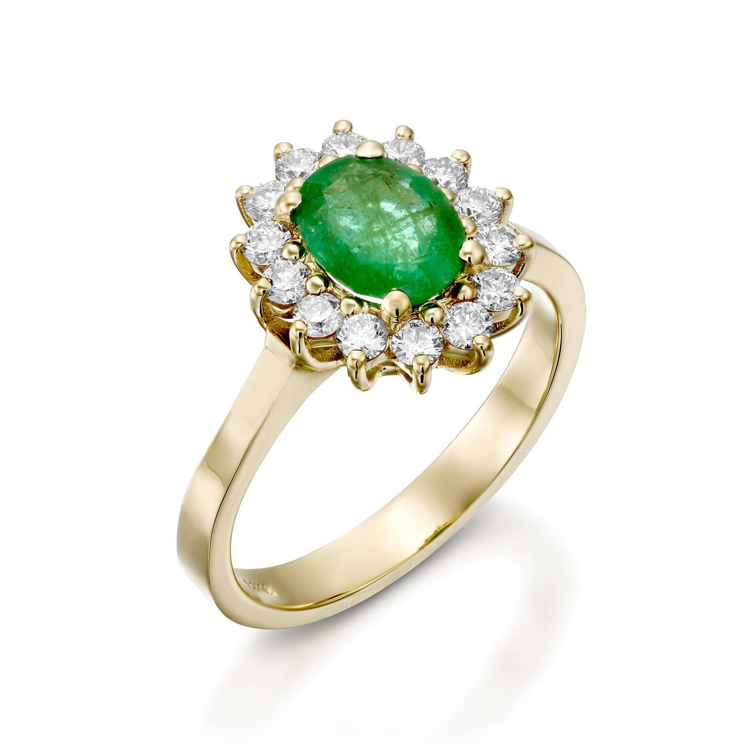 Vintage Oval engagement ring-1 carat Green Emerald Engagement Ring-Diamond ring with Emerald-Green Emerald-Yellow Gold Ring - SevenCarat