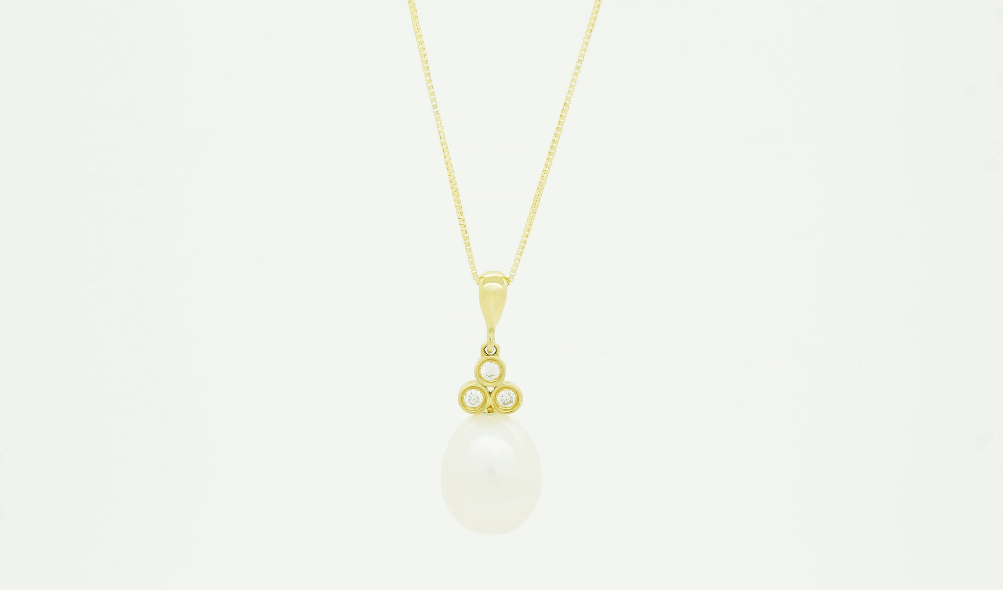 Pearl necklace-Art deco pearl pendant- Yellow Gold-Bridal necklace pearls-Single pearl necklace