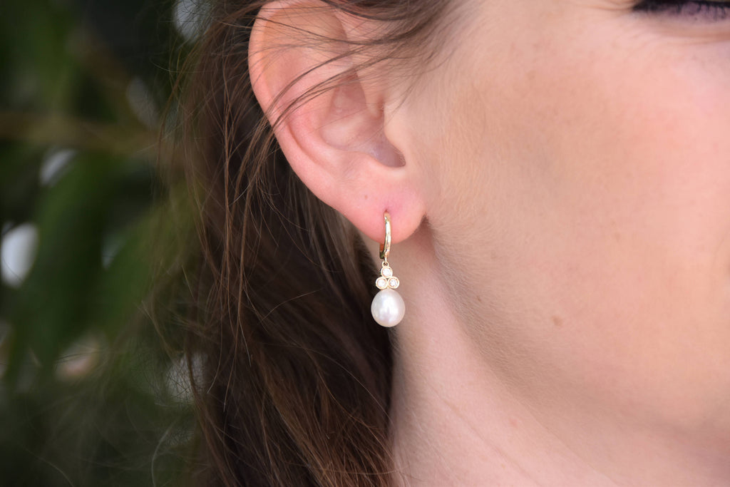 Freshwater Pearl Earrings-14 K Yellow Gold-Bridal Earrings-Pearl dangle earrings-Pearl drop earrings
