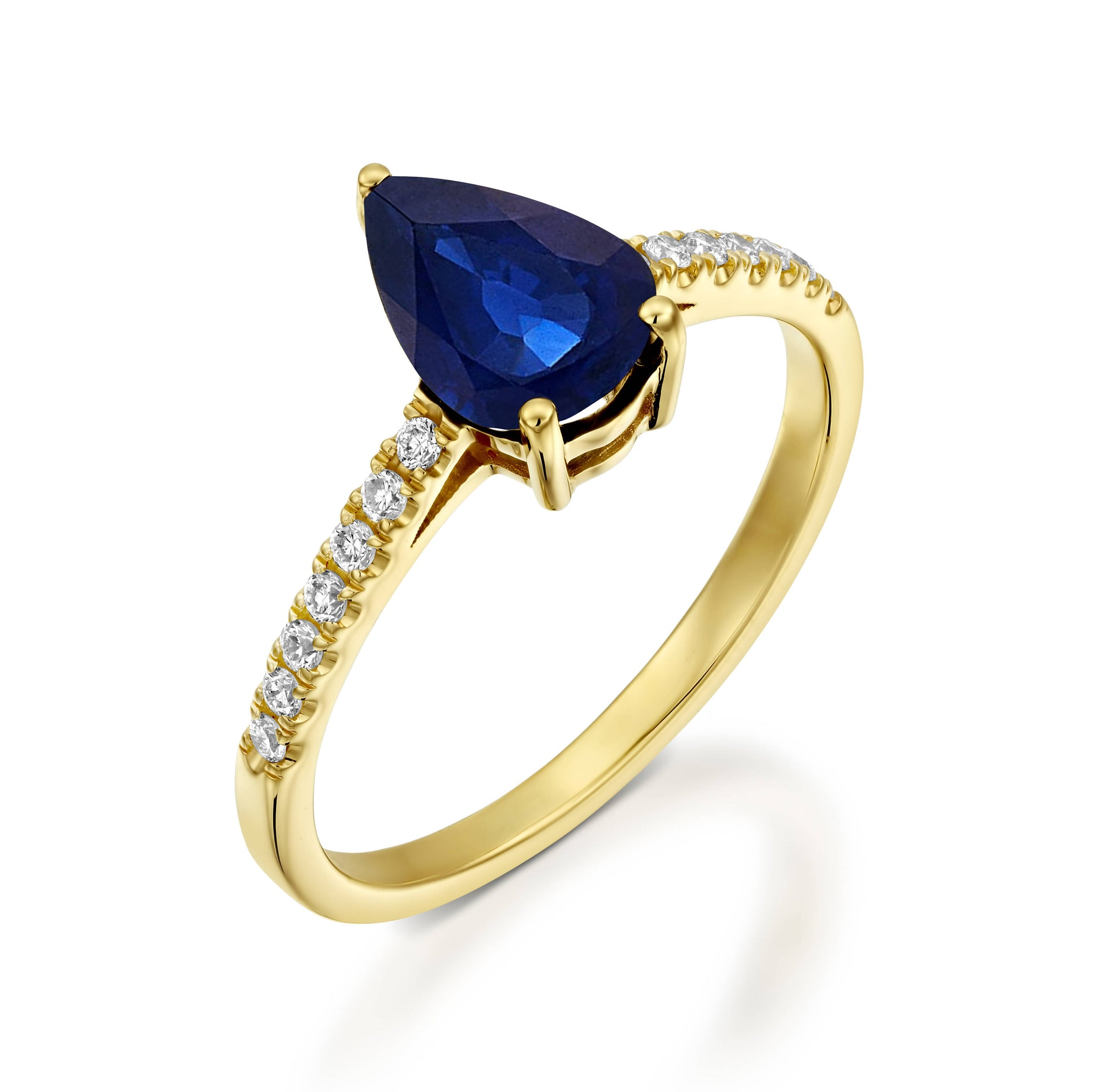 Sapphire Engagement Ring-Art deco Sapphire Engagement Ring -Gold Ring-Anniversary gift-Promised ring - SevenCarat