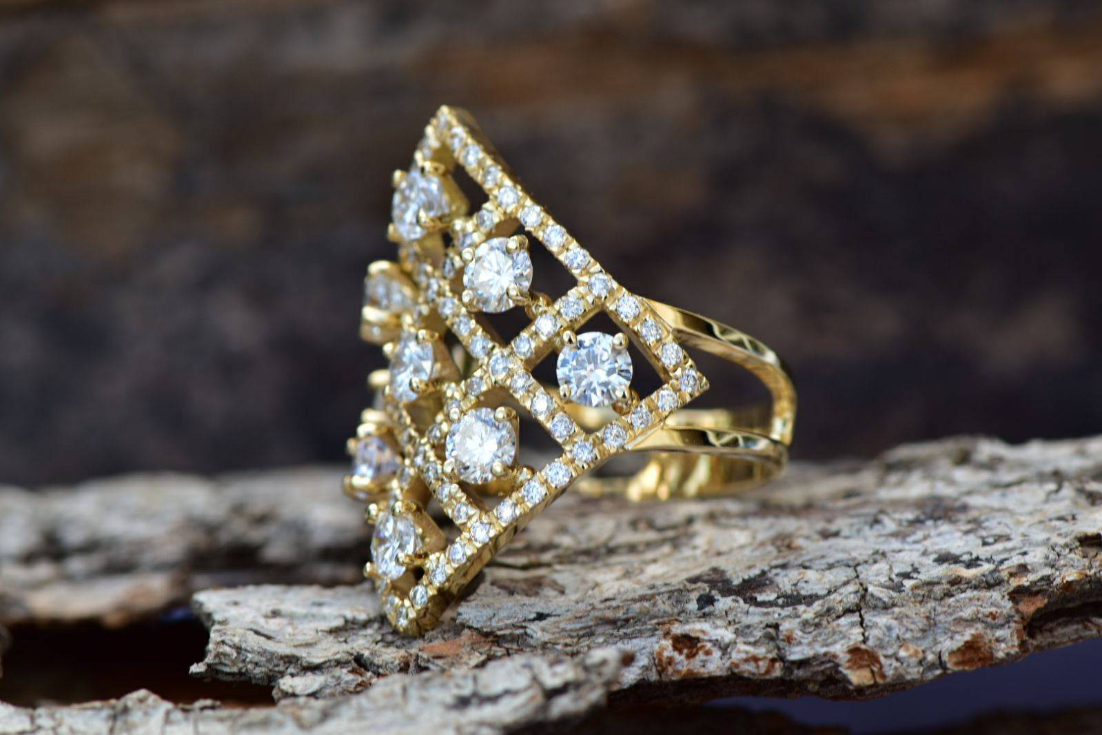 Statement ring-Art deco diamond ring-2.80 ct Designer Diamond ring-Anniversary gifts for wife-Gold Statement Ring