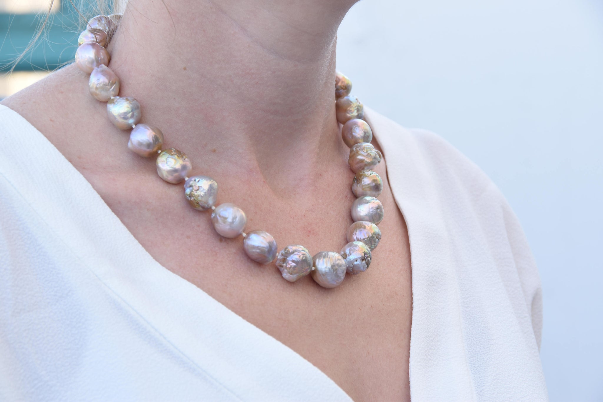 Natural Pearl 12-13 mm-Freshwater Pearl Necklace-Wedding Jewelry-Bridal Jewelry - SevenCarat