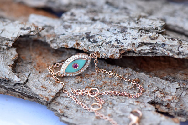 Holiday gift-Rose gold pendant-For her gift-Gold Evil Eye chain-Art nouveau necklace - SevenCarat