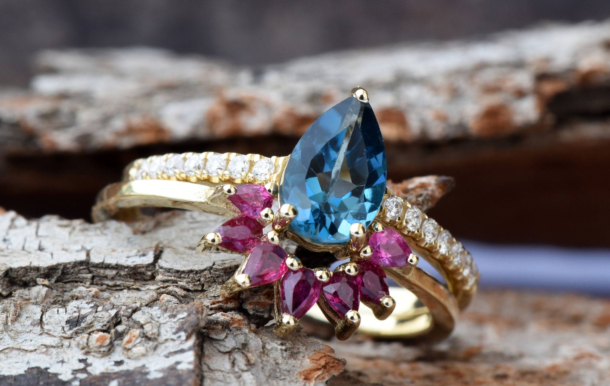 Tapaz engagement ring-London blue topaz-Promised ring-Pear shape topaz - SevenCarat