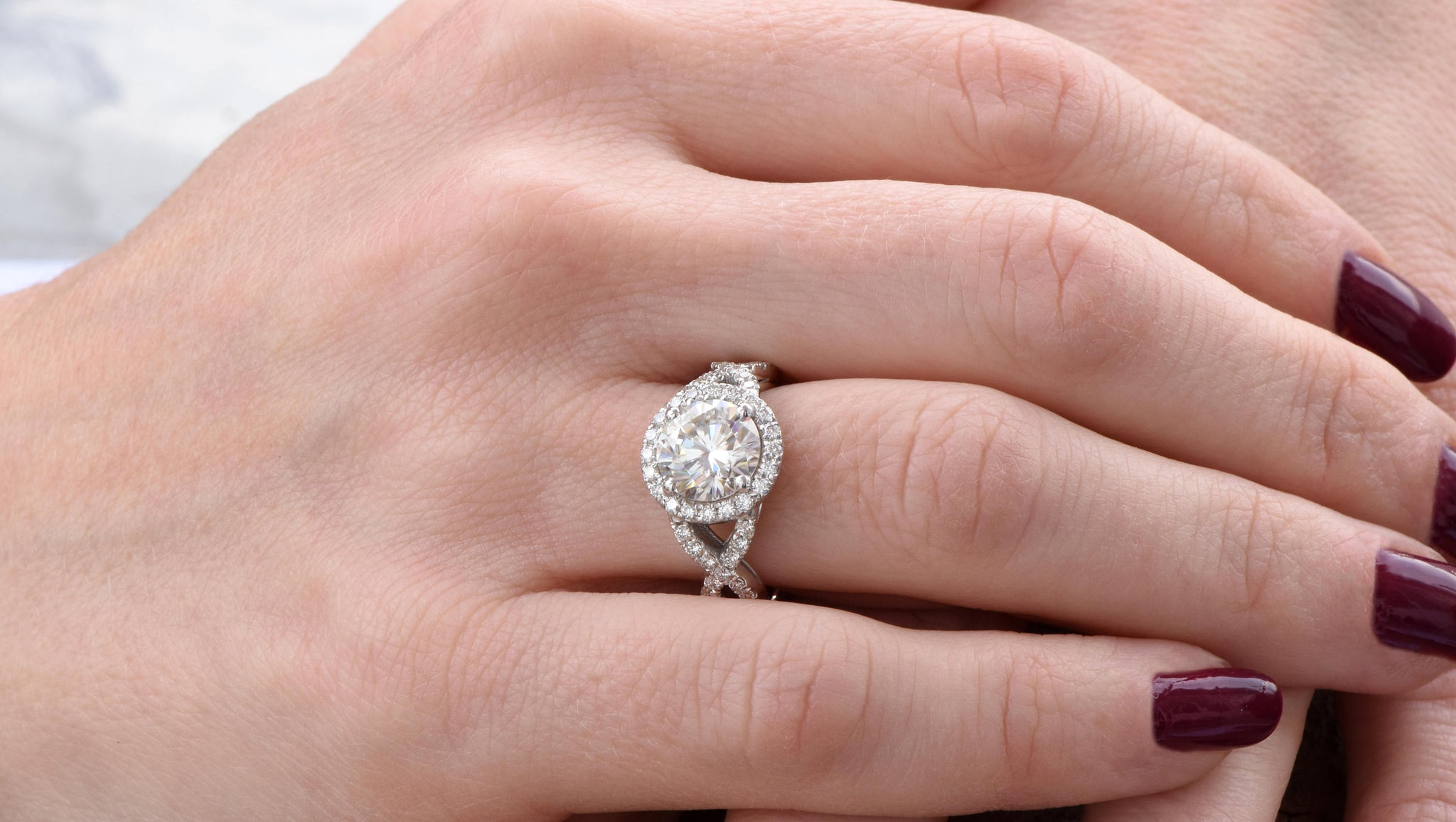 Celtic knot ring-Celtic engagement ring-2 carat Moissanite halo Engagement Ring-Promise ring