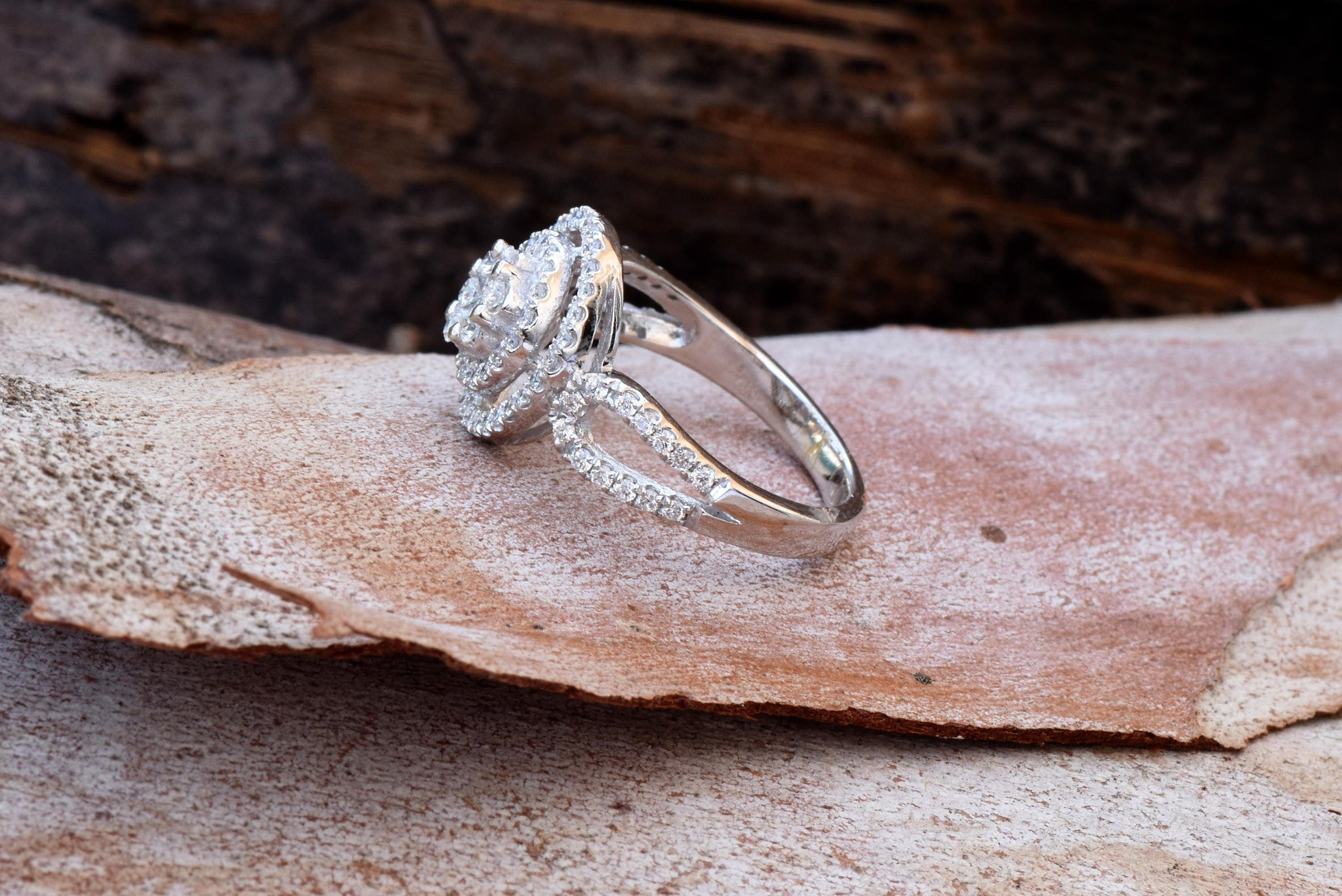 Cluster engagement ring-Diamond Engagement Ring-White Gold Ring-Halo engagement ring-Promise ring