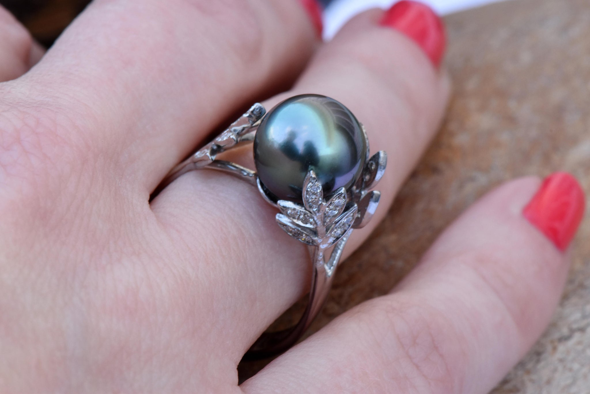 Black pearl ring-14K White Gold-Wedding Jewelry-Black pearl engagement ring-Wedding & Engagement - SevenCarat