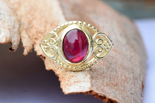 Ruby statement ring-Ruby ring-Art deco ring-Gold Ring-Women Jewelry