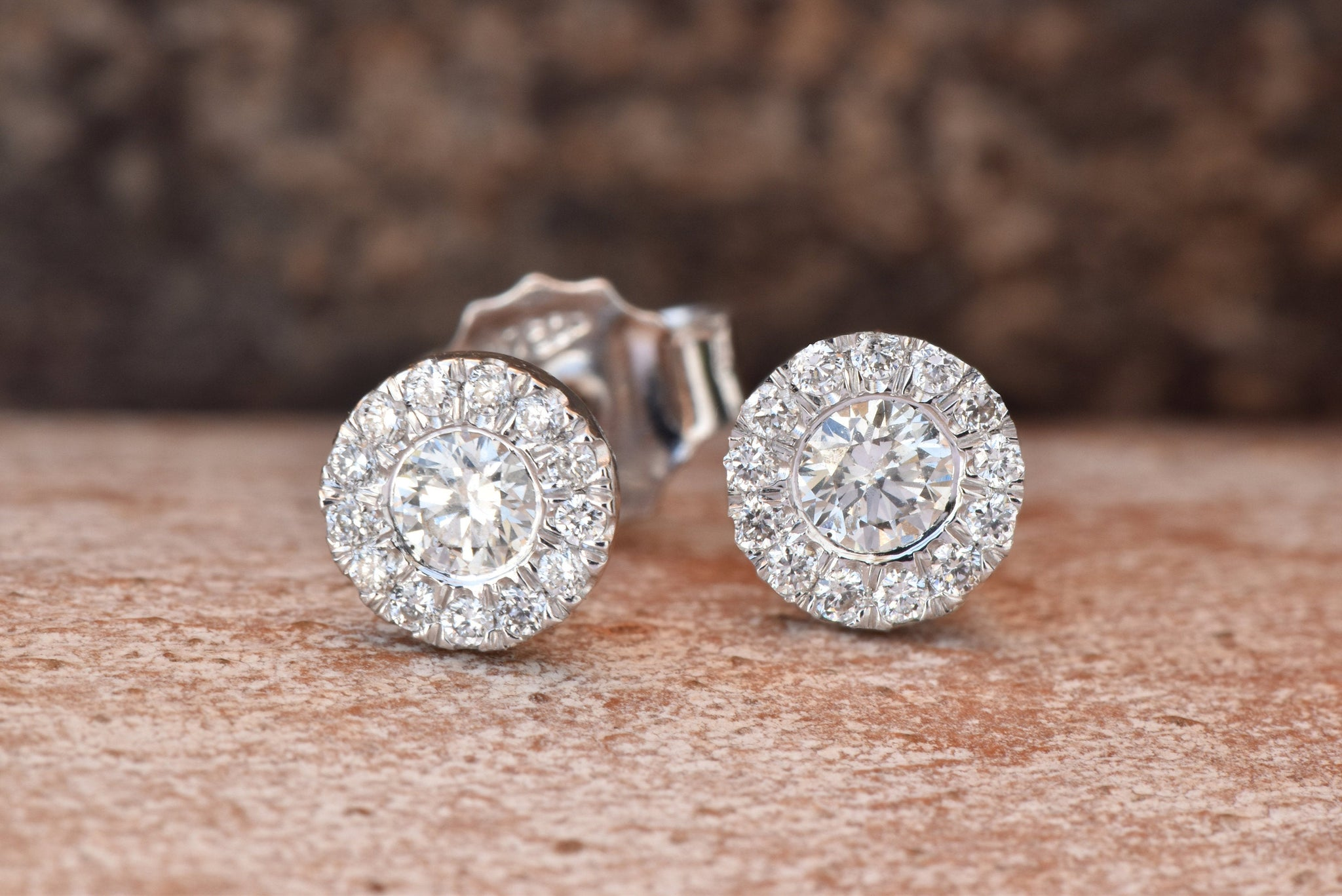 Cluster earrings-Halo Diamond earrings-White gold studs-Anniversary gifts-Art nouveau earrings