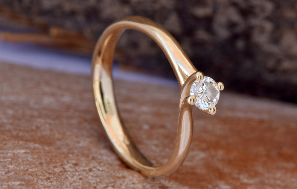 Twist diamond engagement ring-Art deco engagement Ring-Promise ring- FREE SHIPPING - SevenCarat