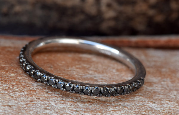 Black diamonds Eternity Wedding Band-Half-Eternity Ring
