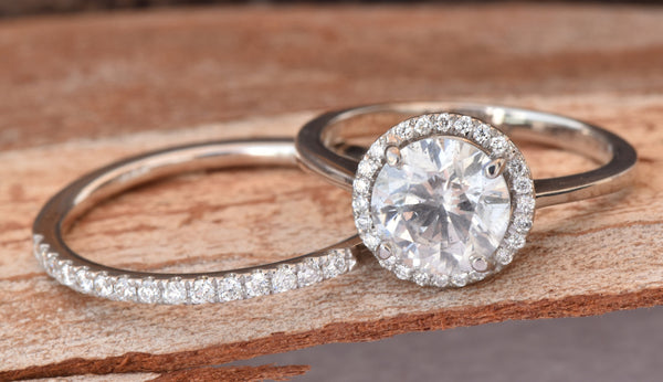 Halo diamond engagement wedding sets-Bridal set rings white gold-14K white Gold-Promise ring