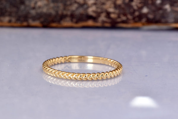 Tiny twist wedding band 14k yellow gold-Tiny ring-Delicate ring-Gold Ring-Dainty ring-Stacking ring-On sale - SevenCarat