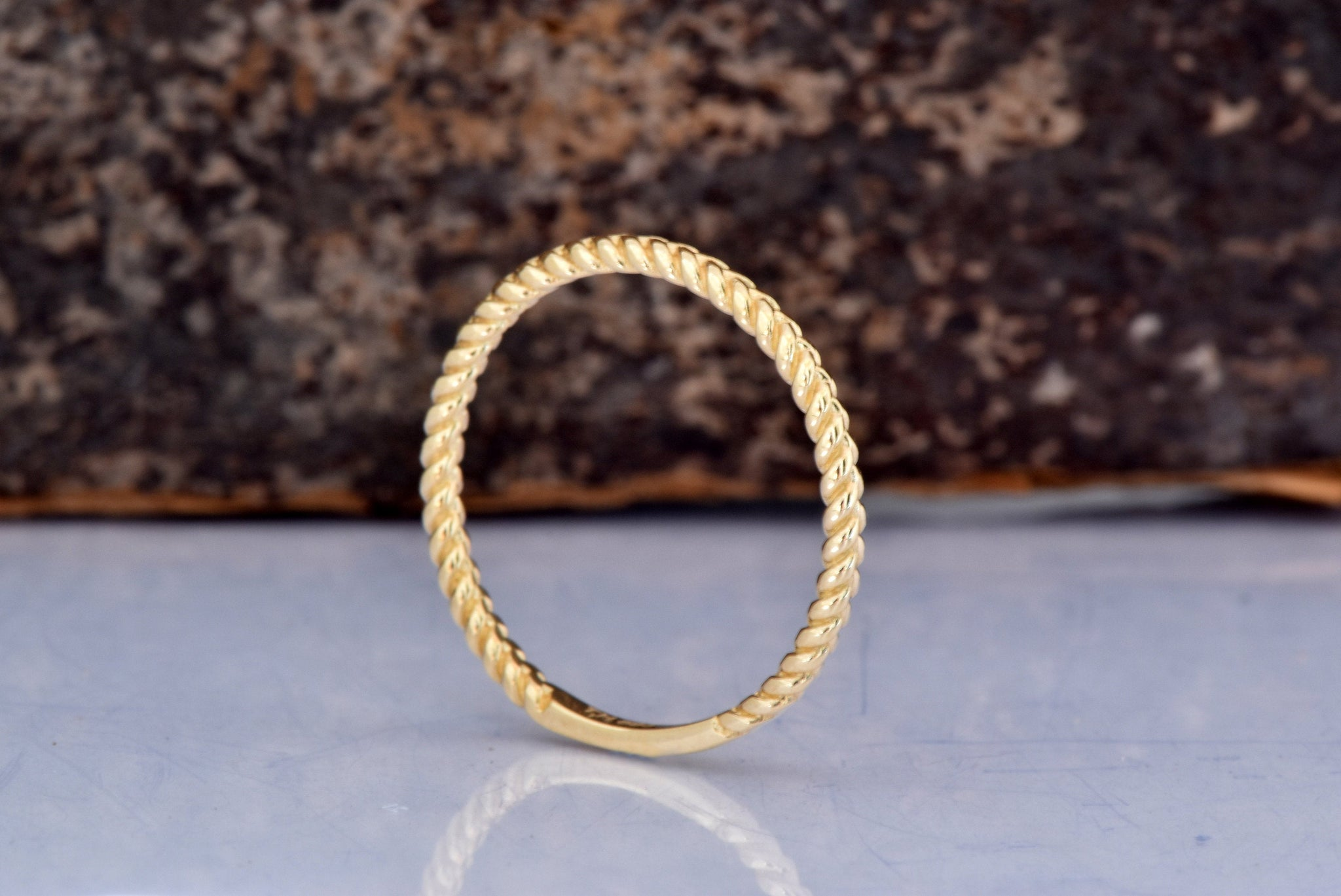 Tiny twist wedding band 14k yellow gold