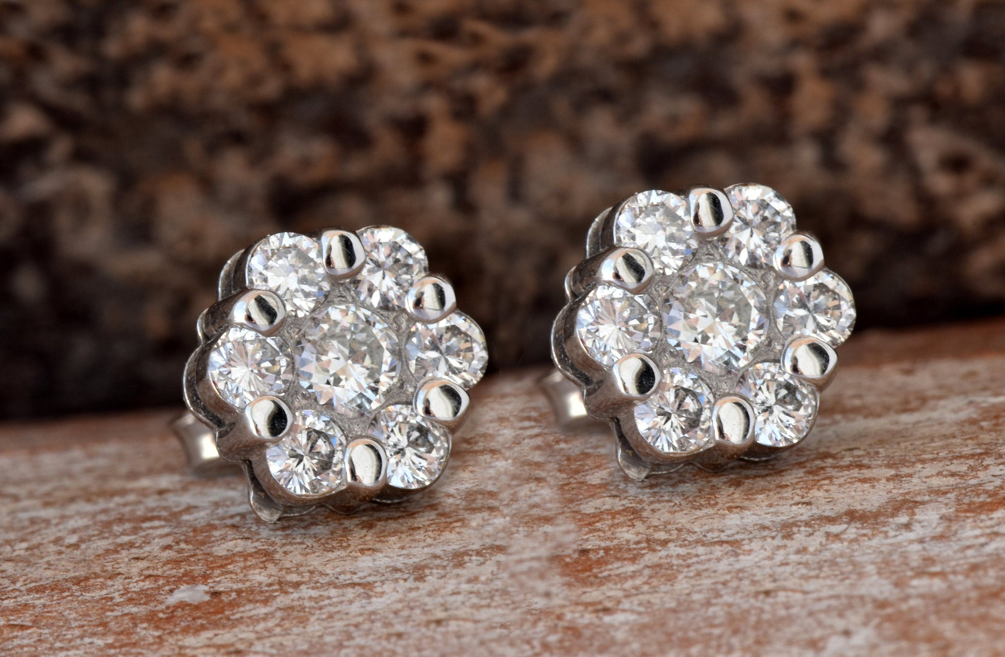 Flower diamond earrings-1.20 carat Gold Diamond Earrings-14K White Gold Earrings-Stud Earrings-Women Jewelry - SevenCarat