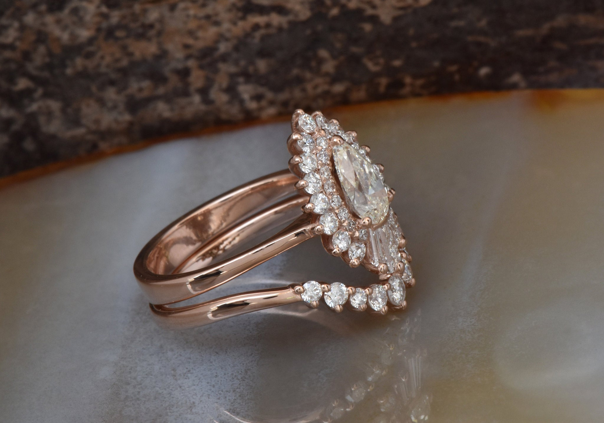 Cluster wedding ring set-Vintage Baguette wedding set-Gold ring-Promise ring - SevenCarat