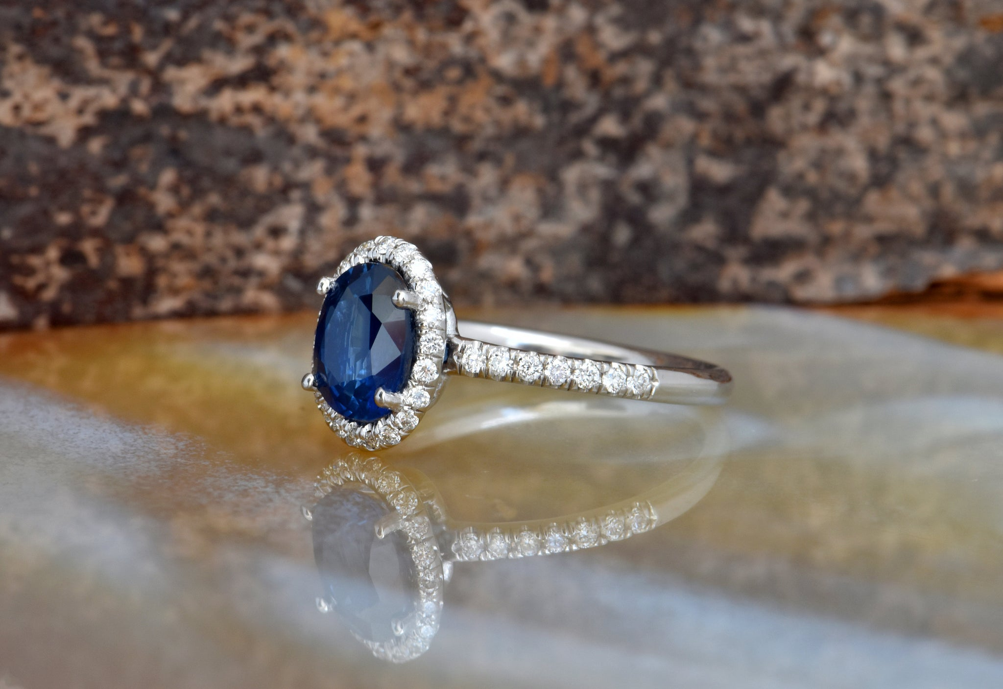 Diamond ring with Sapphire-Cluster Engagement ring-1ct Blue Sapphire-Engagement Ring-Gold ring