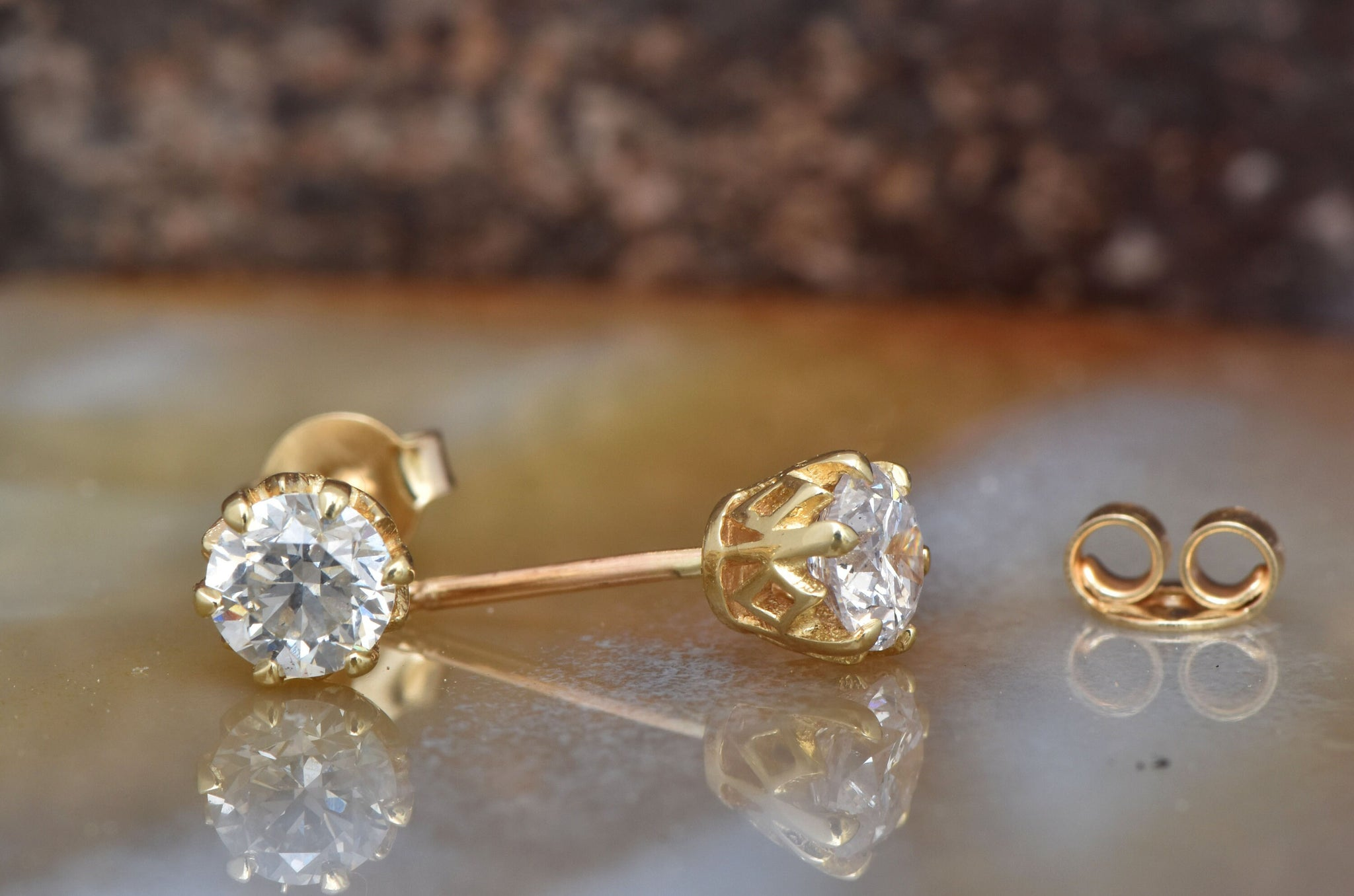 5387fd9bc1093 1 carat Diamond Earrings-Yellow Gold Earrings-Diamond Stud Earrings-Women  Jewelry-Round diamond earrings