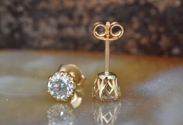 1 carat Diamond Earrings-Yellow Gold Earrings-Diamond Stud Earrings-Women Jewelry-Round diamond earrings