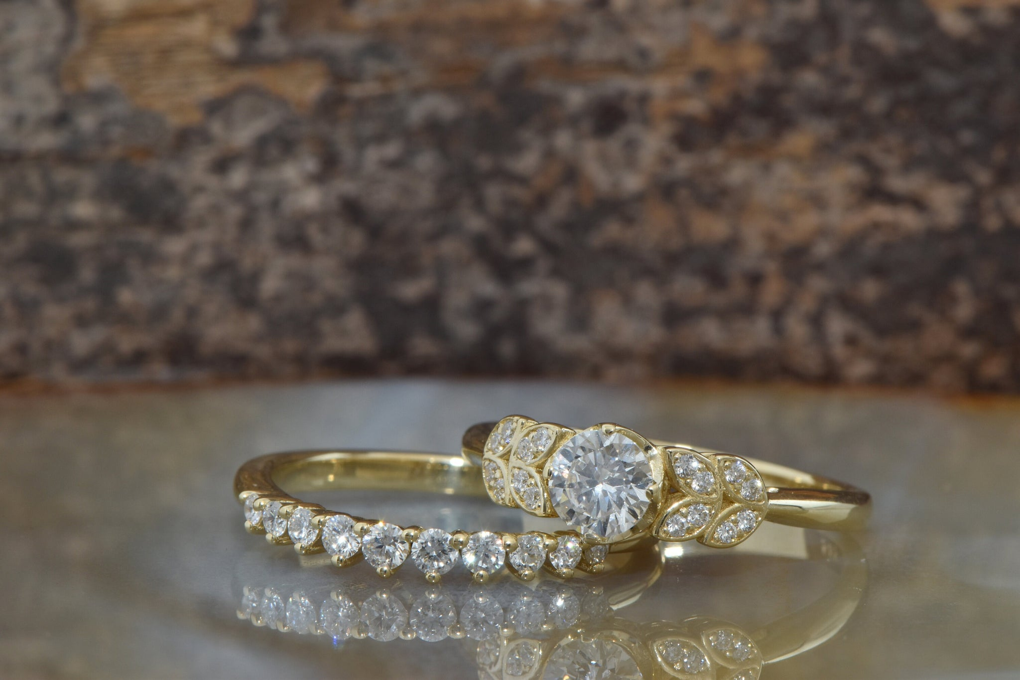 Diamond Leaf wedding set -Art deco wedding set yellow Gold Ring -Promise ring-Leaf rings set-Engagement set