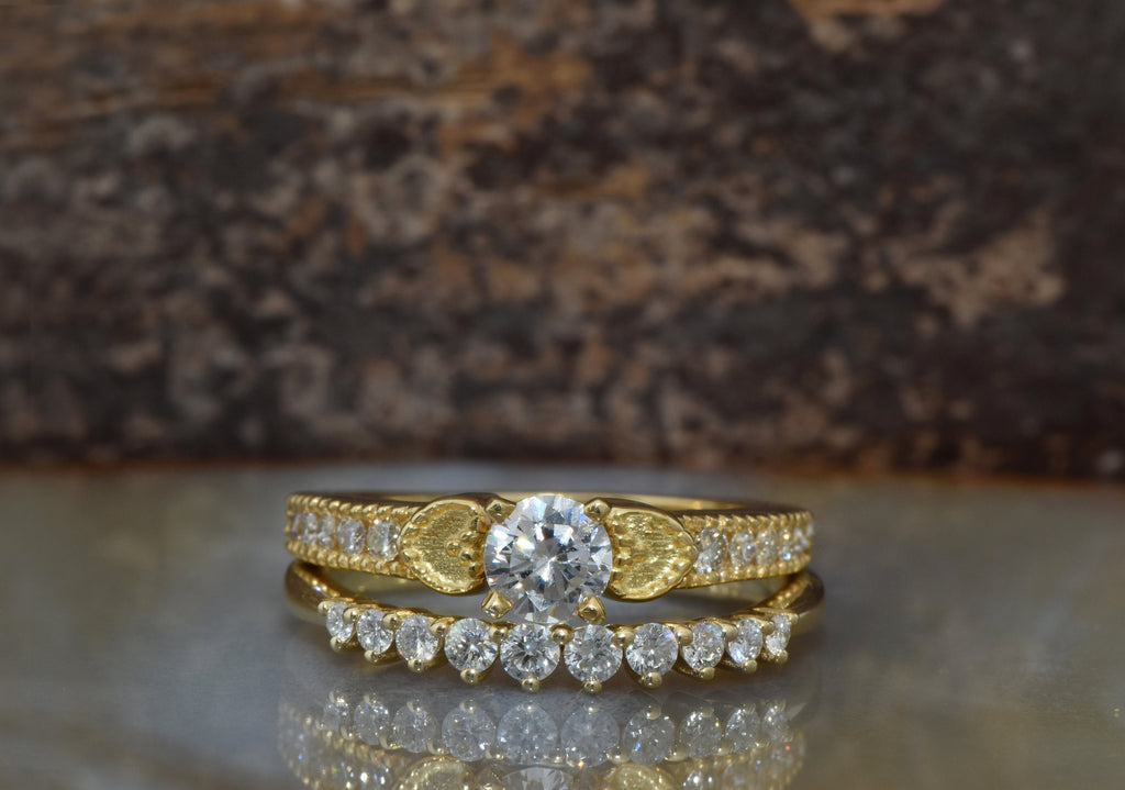Vintage bridal set-Diamond Bridal set-Stacking wedding band- Cluster yellow gold wedding set