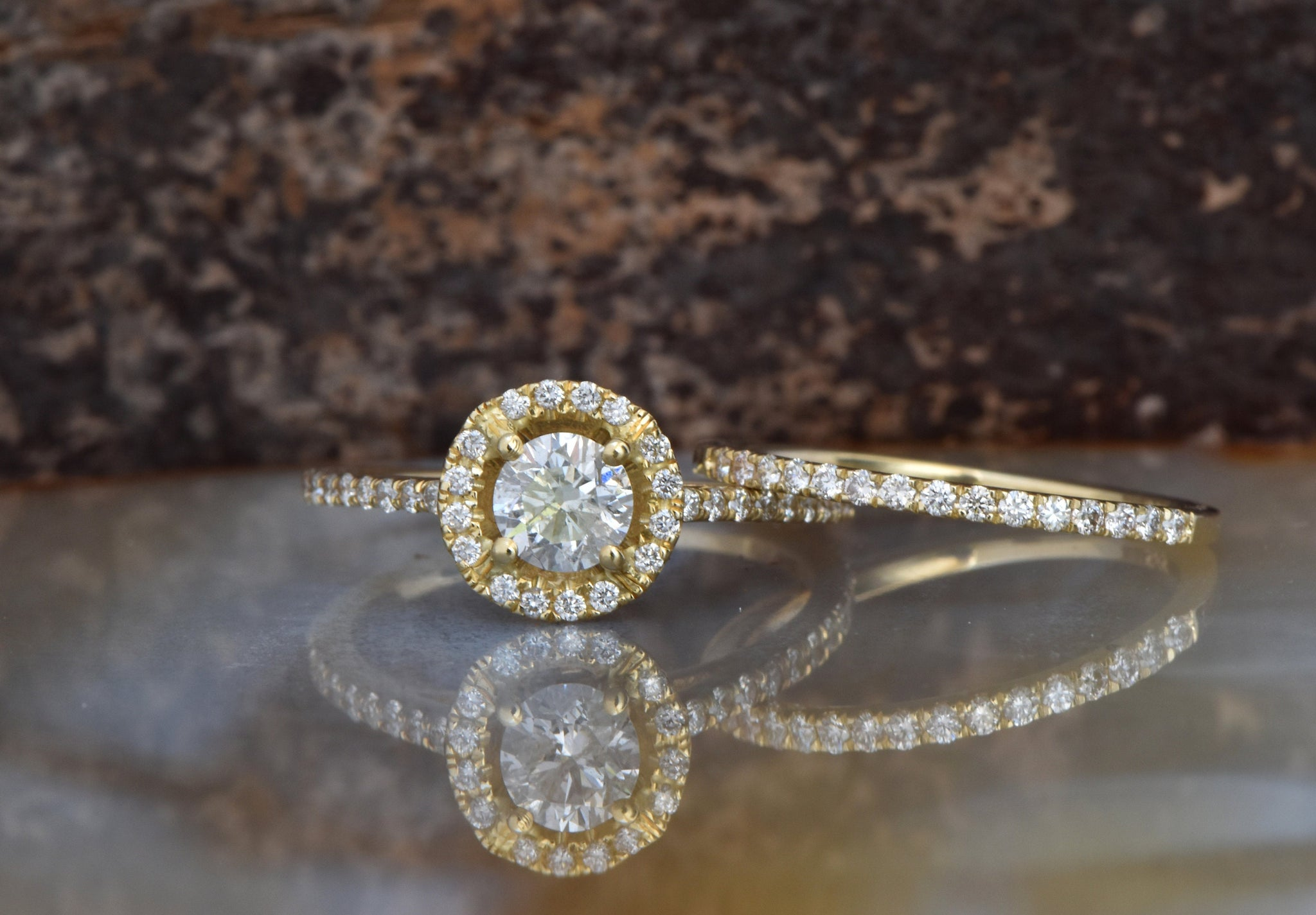 Bridal set rings-Halo diamond engagement wedding sets 1.15 ct-Diamond wedding set-Gold ring-Promise ring