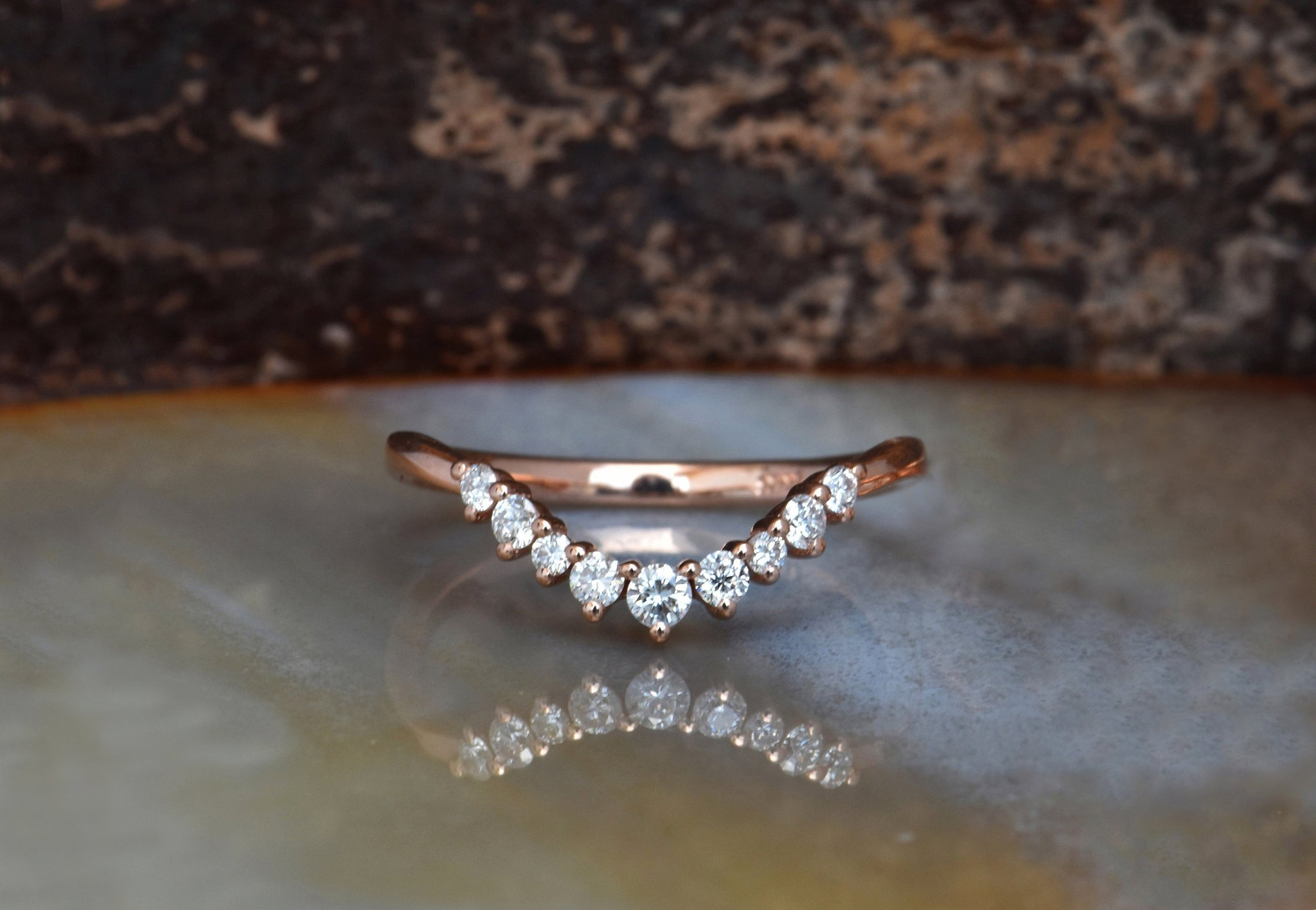 Wedding band Rose gold 14k -Diamond Eternity Wedding Band-Anniversary Gift-Minimalist ring - SevenCarat