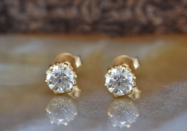 1 carat Diamond Earrings-Yellow Gold Earrings-Diamond Stud Earrings-Women Jewelry-Round diamond earrings - SevenCarat