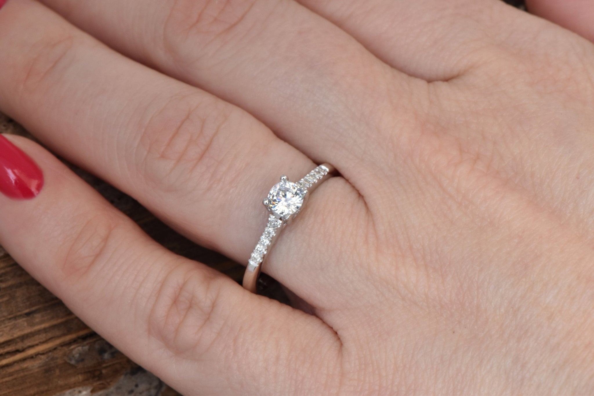 Engagement Diamond Ring 1/2 carat-14K White Gold ring-Women Jewelry-Cluster Engagement ring-Promise ring - SevenCarat