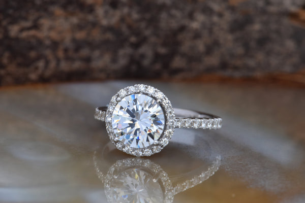 2 carat estate diamond engagement ring-Halo diamond engagement ring -Cluster engagement ring - SevenCarat