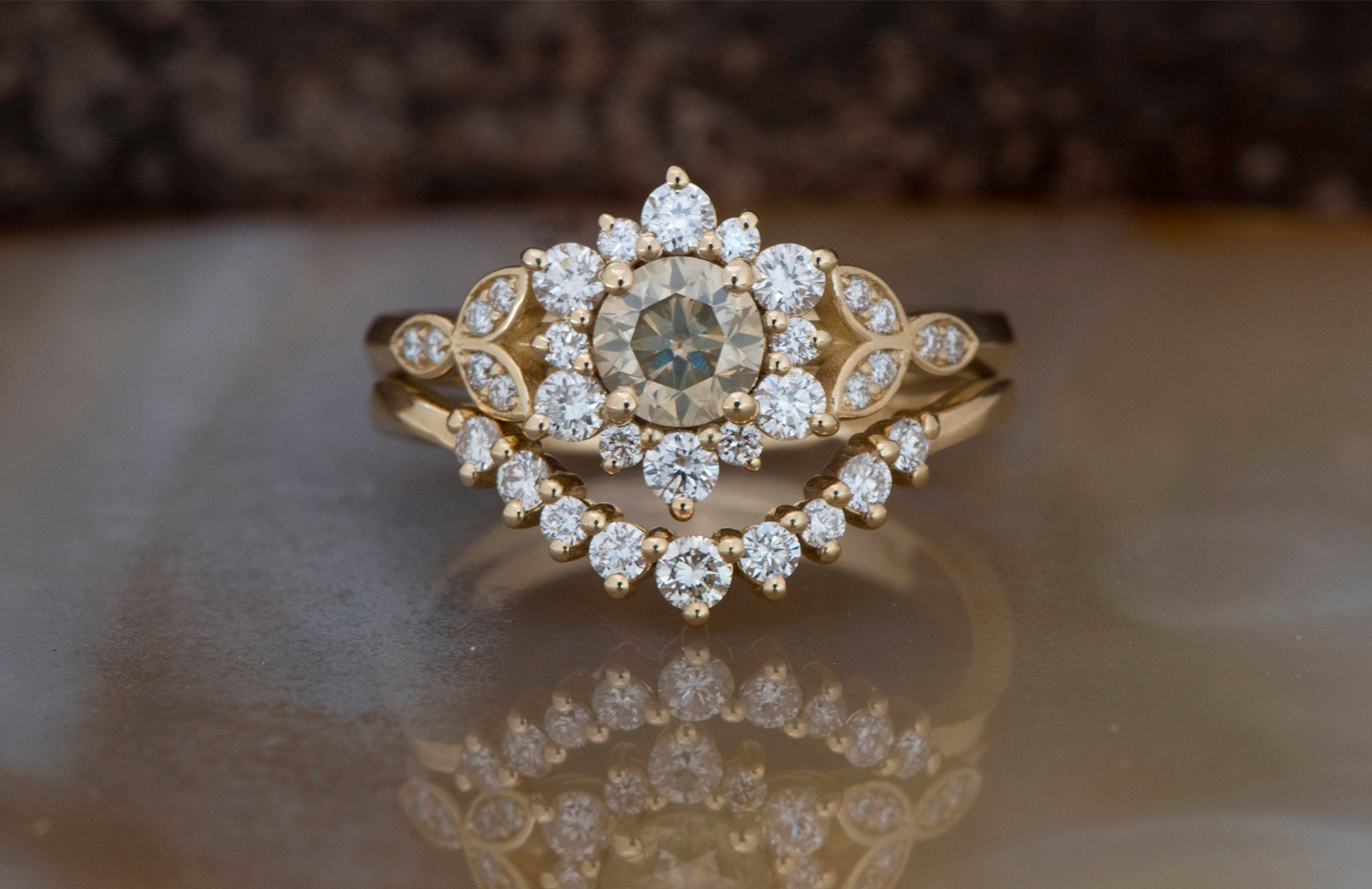 1 carat Flower wedding ring set-Art deco wedding set-Diamond leaf ring-Gold Ring -Promise ring