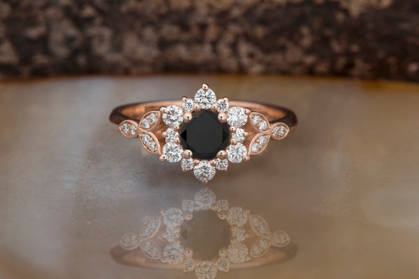 Black diamond flower ring-Art deco Engagement Ring rose gold-Flower engagement ring -Promise ring-Leaf ring - SevenCarat
